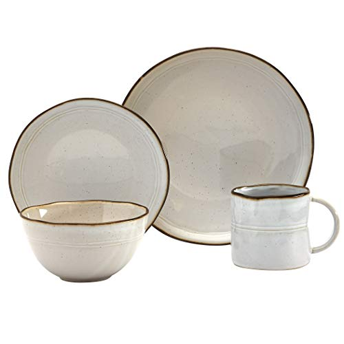 Tabletops Gallery Speckled Farmhouse Collection- Stoneware Dishes Service for 4 Dinner Salad Appetizer Dessert Plate Bowls, 16 Piece Geneva Dinnerware Set