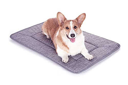 QIAOQI Dog Bed Kennel Pad Crate Mat Washable Orthopedic Antislip Beds Dense Memory Foam Cushion Padding Bolster | Perfect Sleep Bedding Pads for Carrier Cage