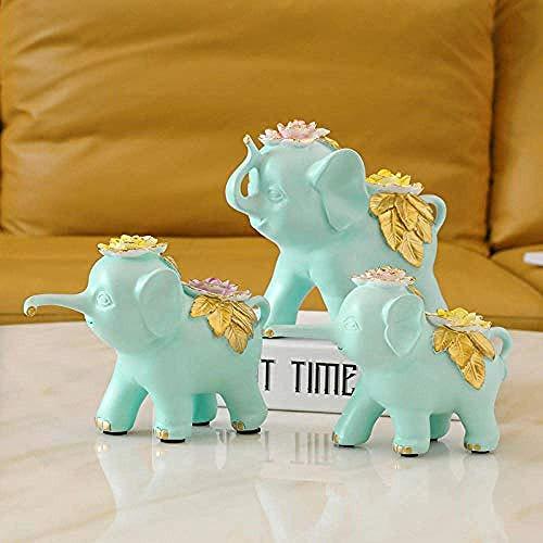LONGWDS Escultura Escultura de Arte Decoraciones artesanía Azul Tres Muebles de Caja de TV pequeña Vino Elefante hogar Sala de Estar Adornos