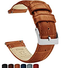 BARTON QUALITY: Top grain cowhide leather watch band with embossed alligator or crocodile styling. 316L surgical grade brushed stainless steel buckle. SELECT PROPER WIDTH: Compatible with any traditional or smart watch that uses 16mm, 18mm, 19mm, 20m...