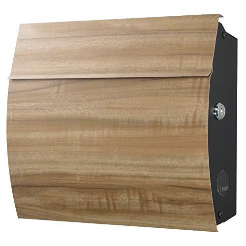 LEON (レオン) MB4801 ブラックエディション 郵便ポスト 壁掛けタイプ ステンレス製 鍵付き おしゃれ 大型 ポスト 郵便受け クスノキ