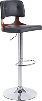 "Zuo Modern 100317 Lynx Bar Chair, 16.5""W x 35.6""H x 16.9""L Overall Dimensions, Round Base, Footrest in Chrome, Adjustable Height, Plush Detailed Upholstered Soft Leatherette, Black"