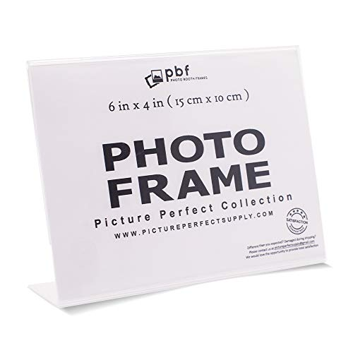 Photo Booth Frames - 6x4 Inch Clear Acrylic Display, Slanted Back Horizontal Picture or Display Sign Holder with Inserts - 12 Count