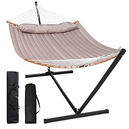 SUNCREAT 55 Inch Large Double Hammock with Stand, 450lbs Capacity, Outdoor Portable Hammock with Curved Bamboo Bar, Extra Large Pillow, Brown