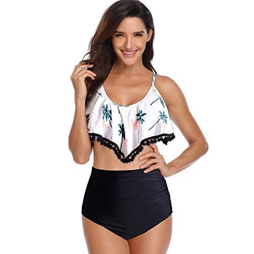 YGSM Bikini Damen Set,Damenmode Lotusblatt Spitze Anhänger Hoher Taille Bikini, Damen Sexy Strand Badebekleidung-H_M