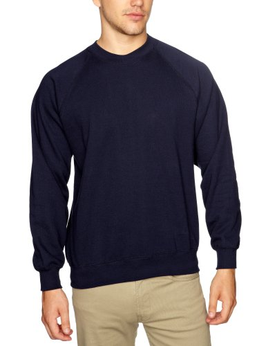 Fruit of the Loom - Pull - Homme - Bleu (Navy) - FR : L (Taille Fabricant : Large)