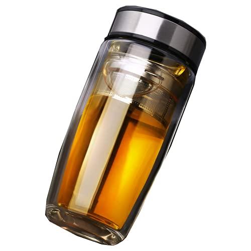 BIANLIANG Botella de agua de doble cubierta para coche, antiescaldaduras, de vidrio de alta calidad, con filtro de té de acero inoxidable 304 + bolsa de 380 ml (plata)