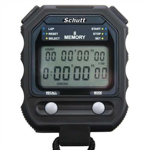 Schütt Digital Stoppuhr PC-71, 8 Stück Speicherdaten, großes Zwei-Zeilen-Display, Timer Pacer 1/10 Präzision, Wasser-/Stoßfest, Druckpunktmechanik