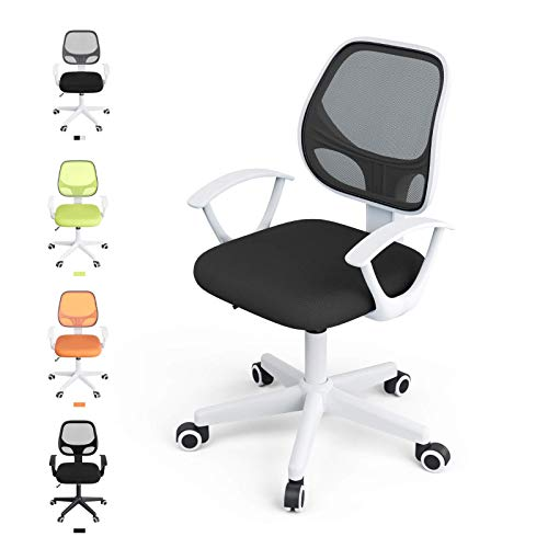 Mecor Kids Desk Chair Teens Computer Chair with Low Back、Arm & Adjustable Swivel Study Chair, White & Black