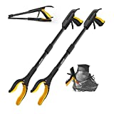 Jellas 2-Pack 32 Inch Grabber Reacher Tool with Shoehorn, 90° Rotating Head Grabber Tool for Elderly, Outdoor and Indoor Trash Picker Grabber