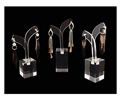 Earring Clear Acrylic Display Stands Set Trade Show Exhibit Photo Props Riser Jewelry Sale Modern Style 3PC Set (Earrings)