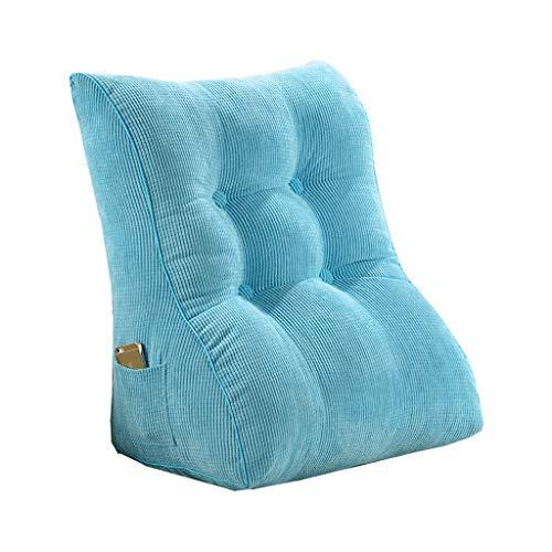 DUHUI Almohada de Lectura, Almohada del sofá, Almohada de cuña para Cama y sofá, Respaldo, Almohada Lumbar, Desmontable, Cojín de cuña en el Cuello (Color : Blue 1, Size : 60x55x30cm)
