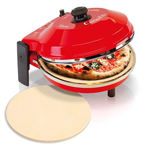 SPICE Set de four à pizza Caliente 400 degrés Résistance circulaire 1200 W + deuxième pierre réfractaire