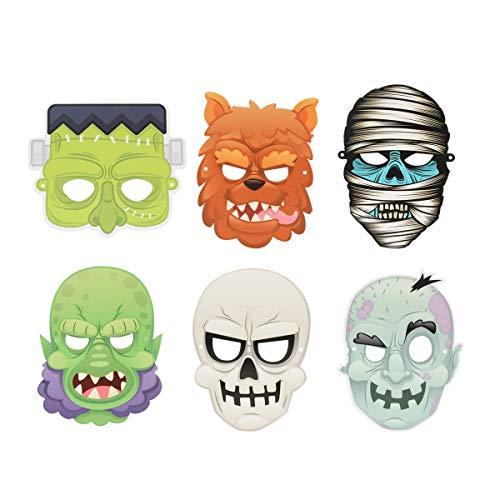 6 mscaras de Halloween Horrible Monster Ghost Head Mask de miedo Halloween Masquerade Mask Accesorio de disfraz