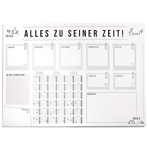 Bureau-onderlegger alles in zijn tijd met kalender van 3 jaar, DIN A2, schrijfblok van papier om af te scheuren, dv_193