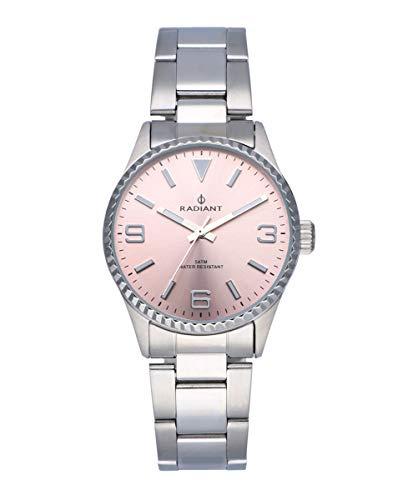 Reloj analógico para Mujer de Radiant. Colección Mulan. Reloj Plateado con Brazalete, Esfera Rosa y Bisel dentado. 5ATM. 34mm. Referencia RA537203.