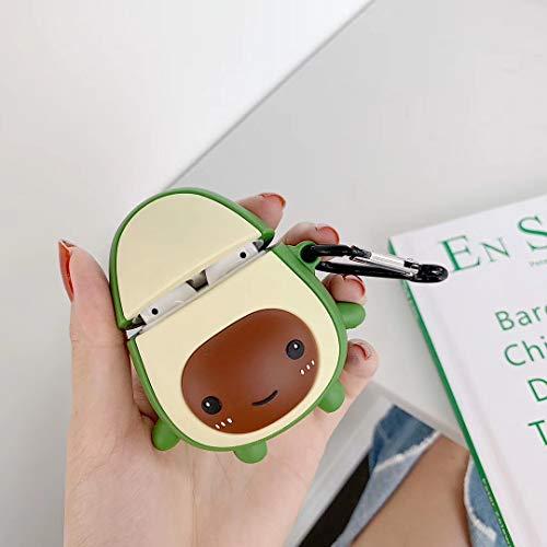 SevenPanda Cartoon Airpod Case for Apple Airpods 1&2, Cute 3D Funny Cartoon Soft Silicone Cover, Kawaii Fun Cool Keychain Design Skin, Fashion Color Cases for Girls Kids Boys Air pods - Avocado