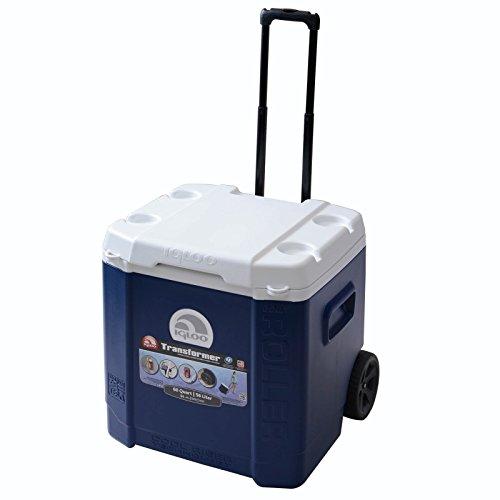 IGLOO Nevera Portátil Transformer 56 litros con Ruedas y Asa Telescópica, Camping, Deportes, Playa, Azul, 53 x 48 x 53