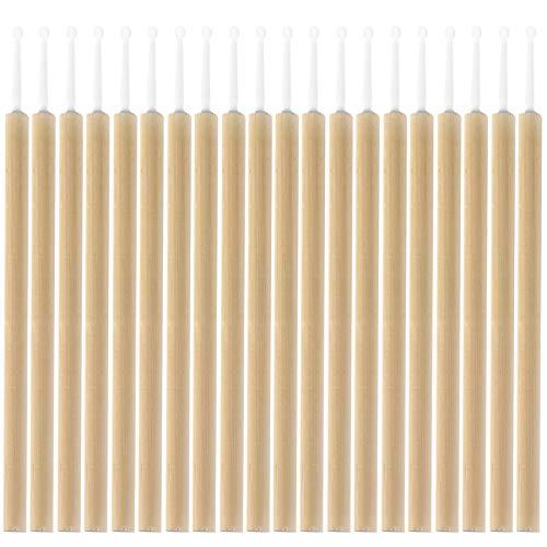 Beaupretty Baguettes de Mascara Jetables Extensions de Cils Applicateurs de Cils Fins Bambou Coton Brosses de Maquillage Peigne à Sourcils Fournitures Cosmétiques 20Pcs