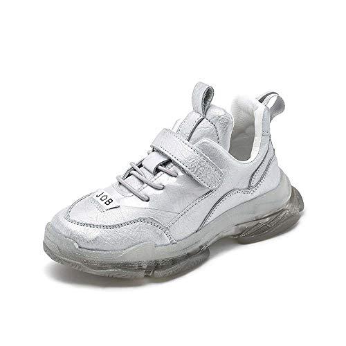 Luckyw Zapatos de las muchachas, Niños Zapatos Niño Otoño Deportes Zapatos Cómodo Transpirable Versión Coreana, Plata, 37 yardas/23.0cm
