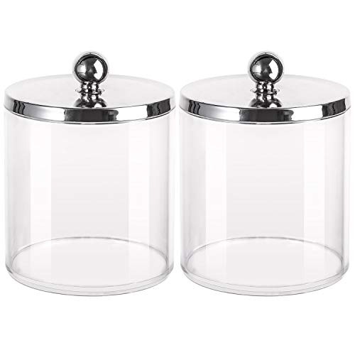 Tbestmax 20 Oz Cotton Swab/Ball/Pad Holder, Qtip Jar Clear Bathroom Containers Dispenser 2 Pack