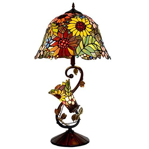QCKDQ 16 Inch Tiffany Style Lamp Table Lighting, Antique Resin Base Reading Light, Art Deco Vintage Hall Night Light for Living Room Antique Desk Beside