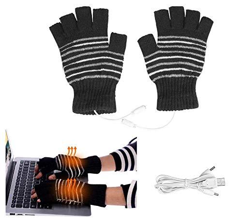 COOTA 1 par de Guantes calefactados USB, Guantes de Invierno sin Dedos, calefactados para esquí, Bicicleta y Alpinismo para Hombre y Mujer (Rayas Negras)