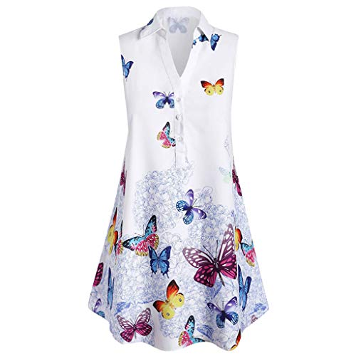 NANTE Top Casual Loose Blouse Sleeveless Butterfly Print T Shirts Tops Shirt Pullover Women Clothes Womens Clothing Costume (XL, White)