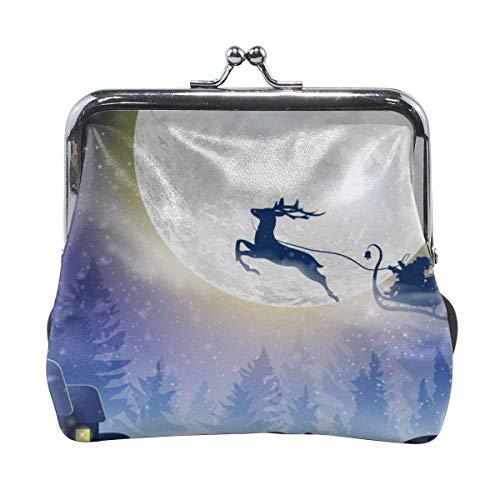 Münzgeldbörse Metallschloss Geldbörse, Kuss und Schnalle Geldbörse wechseln Handtasche Weihnachtsmann fliegt mit Hirsch auf einem Schlitten für Weihnachten