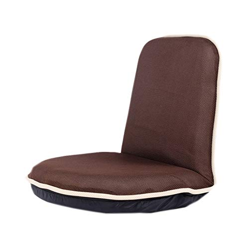 Japanese-style Tatami Lazy Sofa Single Fabric Adjustable Chair Home Simple Seat Cushion Beige Brown 51×48×50cm (Color : Brown)