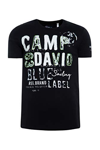 Camp David Herren T-Shirt mit Label-Applikationen in Used-Optik, Black, M