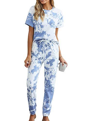 KIRUNDO Two Piece Pajamas Set Tie Dye Printed Short Sleeves T-Shirt Long Pants Joggers Sleepwear Lounge PJ Set with Belt Blue