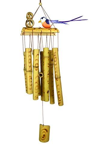Gardening Will Carillon fait main en bambou brûlé avec oiseau 58,4 cm