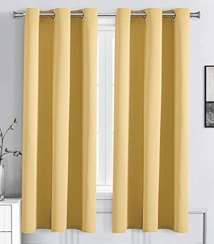 """WPM Blackout Curtain Room Darkening Panels/Drapes for Living Room, Mustard Yellow Thermal Insulated Grommet Bedroom Window Draperies (Mustard Yellow, 42"""" W X 63"""" L)"""
