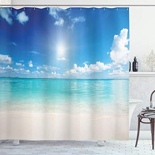 ABAKUHAUS Landschaft Duschvorhang, Himmel & tropisches Meer, mit 12 Ringe Set Wasserdicht Stielvoll Modern Farbfest & Schimmel Resistent, 175x200 cm, Türkis Weiß Creme