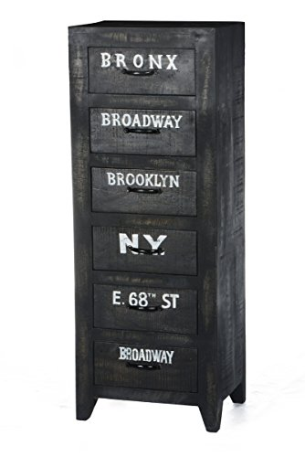 SIT-Möbel Bronx 4211-11, Hochkommode mit 5 Schubladen, Mangoholz, schwarz lackiert, Wordprints, 45 x 35 x 120 cm