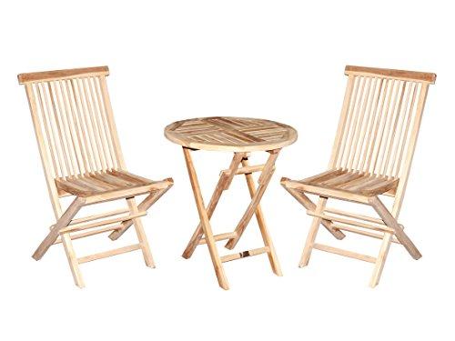 Ambientehome Multistore 2002 Lot de 3 chaises Pliantes et Table Ronde en Teck Marron 60 cm