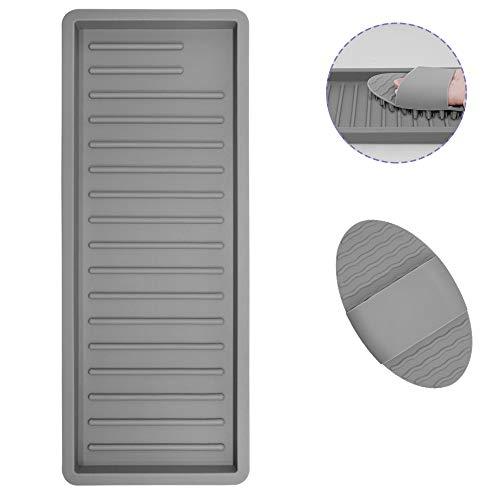 AIFUDA Bandeja organizadora de cocina con 1 cepillo de silicona, soporte de almacenamiento de esponja de silicona para reposabrazos, jabones, fregadores, esponja para platos, 30,5 x 12,1 cm (gris)