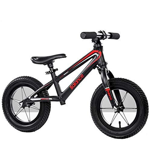 YumEIGE Loopfiets voor kinderen, 4,4 kg koolstofstalen frame, instelbare zitbelasting 60 kg, wielen kinderloopfiets kinderen van 2-9 jaar, zwart en wit zwart