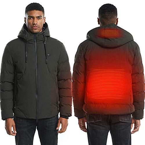XNJHMS Mens Women Heated Jackets Vest Down Cotton Outdoor Coat USB Electric Heating Hooded Jackets Warm Winter Thermal Coat,Green,XXL