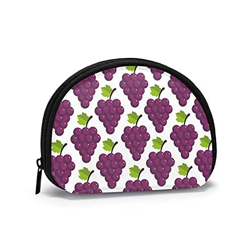 Bolsas de almacenamiento de cosméticos de color morado para papel pintado de uva para mujeres y niñas pequeñas monedero monedero monedero monedero