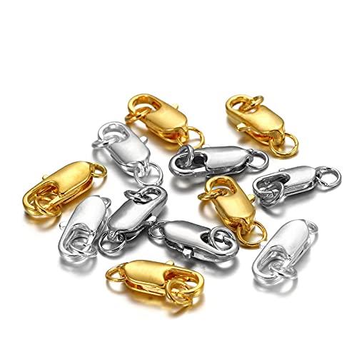 WEIGENG 30 unidades de cierre giratorio con anillo de salto abierto, collar, pulsera, mosquetón, accesorios para hacer joyas (color: multicolor, tamaño: 12 x 4,5 x 5 mm)