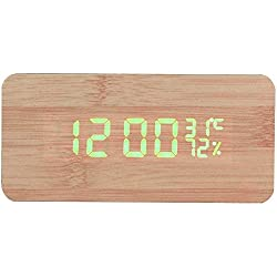 LWS Wooden Alarm Clock, Wood LED Digital Desk Clock, Upgraded with Time Temperature, Adjustable Brightness, 3 Set of Alarm and Voice Control, Humidity Displaying - Wooden-(LED Green)