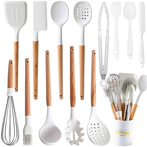 Kitchen Cooking Utensils Set, 14 Non-Stick Silicone Cooking Kitchen Utensils Spatula Set with Holder, Wooden Handle Silicone Kitchen Gadgets Utensil Set for Nonstick Cookware