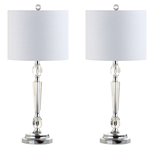 JONATHAN Y JYL2047A-SET2 Victoria 27 pulgadas lámpara LED de vidrio moderno, contemporáneo, tradicional, glamour para recámara, sala de estar, oficina, recámara universitario, mesa de centro, estantería transparente, 2 piezas