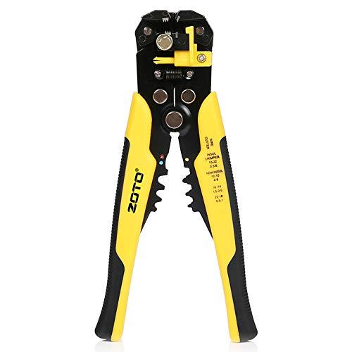 Pince à Dénuder Automatique,ZOTO Réglable Multifonctionnel Dénudeur de Fils avec AWG 24-10 (0,2 ~ 6.0mm²) - Multi Tool Stripper, Cutter et Crimper Appareil à Dénuder Outil
