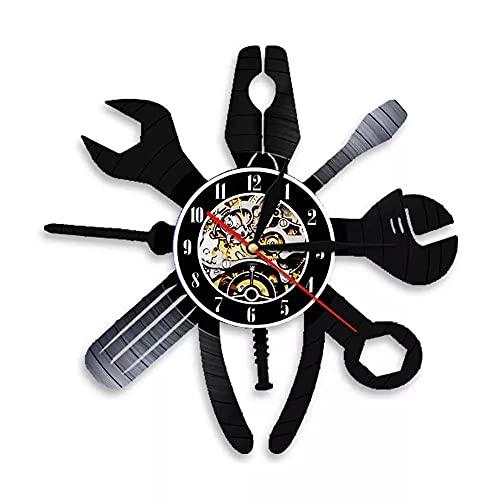 KDBWYC Reloj de Pared Decorativo de Pared de reparación de automóviles, Servicio de Coche, mecánico, Garaje, salón, Registro de Vinilo, estación de Taller, Letrero Colgante sin Led