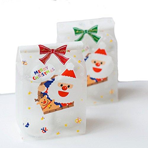 Miya® 50er Set super süß Nikolaus und sein Hirsch, liebevolle selbstklebende Tütchen 10x11cm+Klappe 3cm, Adhäsionsverschluss Beutel, Keks Kuchen Gebäck Verpackung Tüten, Cupcake Süßigkeiten Packsack, Geschenk Verpackung, DIY Deko, (Opp_Weiß W-mann)