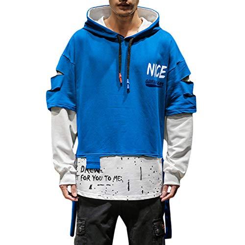 Men's Fake Two-Piece Print Hooded Sweatshirt Hip Hop Street-Wear Fashion Outwear Sweatshirt Coat Hand Panting Homme 5XL,L1,XXL
