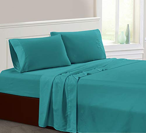 """AZORE LINEN Brushed Super Soft Easy Care Solid Microfiber Bed Sheet Set with 14"""" Deep Pockets All Around Elastic and Corner Straps 2200 Series (Turquoise, King)"""